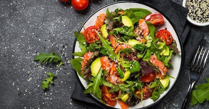 Smoked salmon salad with a red wine vinaigrette